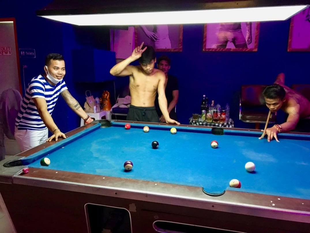 Snooker game at the @Home Bar, Jomtien Complex, Pattaya Thailand.